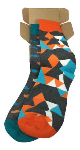 2 Pair Mens Funky Fun Colorful Socks - Hipster Power Socks - Premium Cotton Socks
