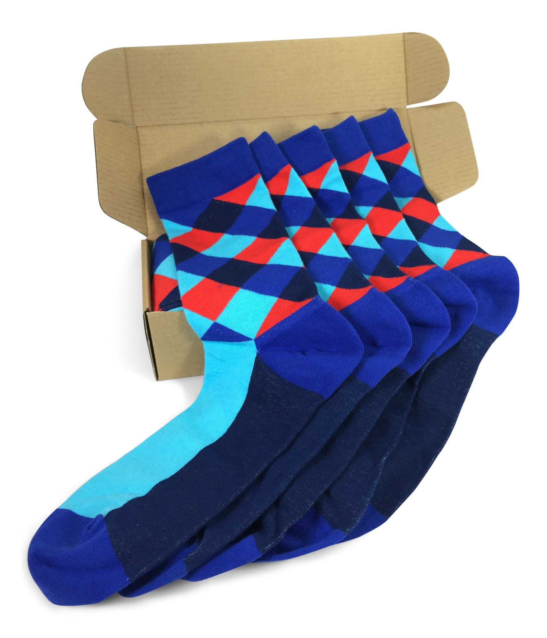Wedding Party Socks   Blue Red Lozenges