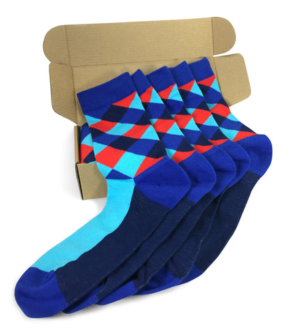 Wedding Party Socks - Blue Red Lozenges