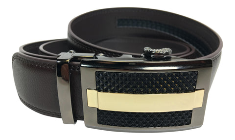 Men's Ratchet Genuine Leather Belt with No Holes in Brown