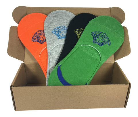 4 Pair No-Show Socks with Silicone Grip - Santorini Collection