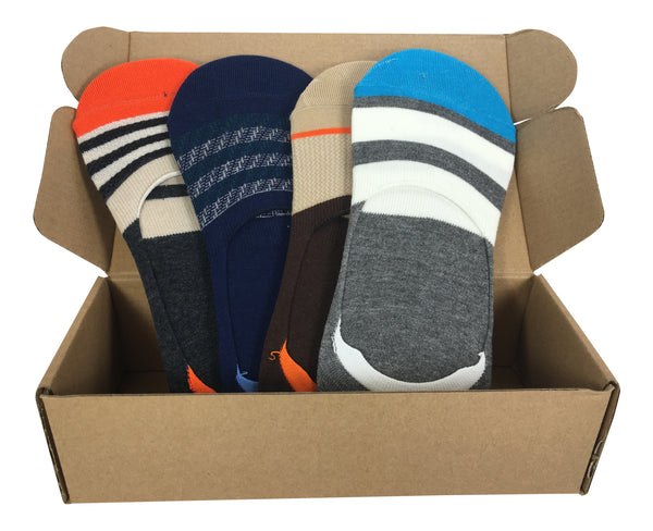 4 Pair No-Show Socks For Men with Silicone Grip - Fiji Collection