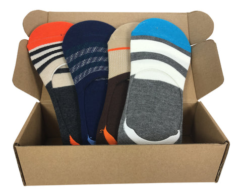4 Pair No-Show Socks with Silicone Grip - Fiji Collection