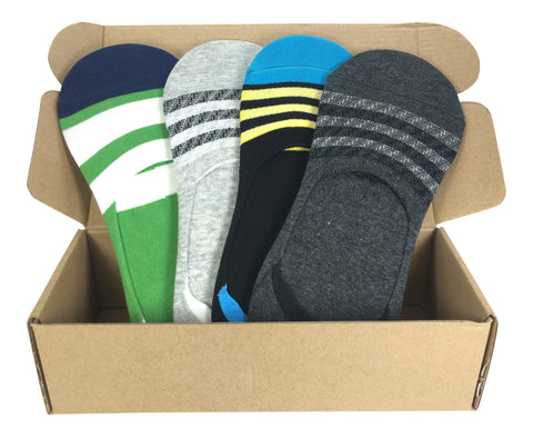 4 Pair No-Show Socks For Men with Silicone Grip - Maui Collection