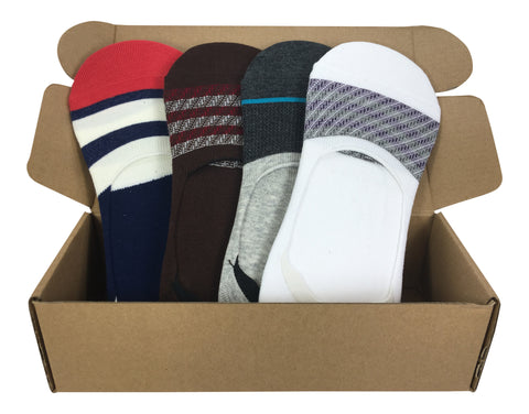 4 Pair No-Show Socks For Men with Silicone Grip - St. Marteen Collection