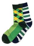 2 Pair Mens Funky Fun Colorful Socks-Hipster Power Socks-Premium Cotton Socks