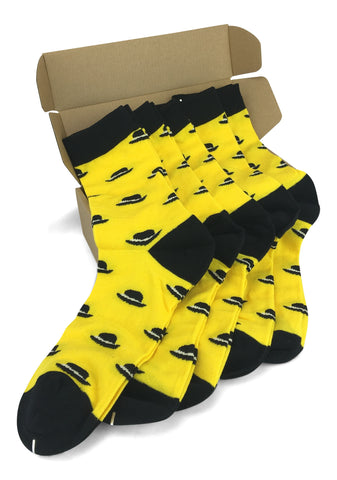 Wedding Party Socks - Yellow with Black Hats