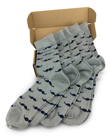 Wedding Party Socks - Gray with Navy Mustaches