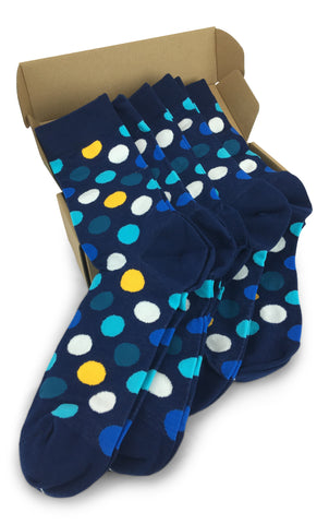 Wedding Party Socks - Navy with Yellow and White Dots