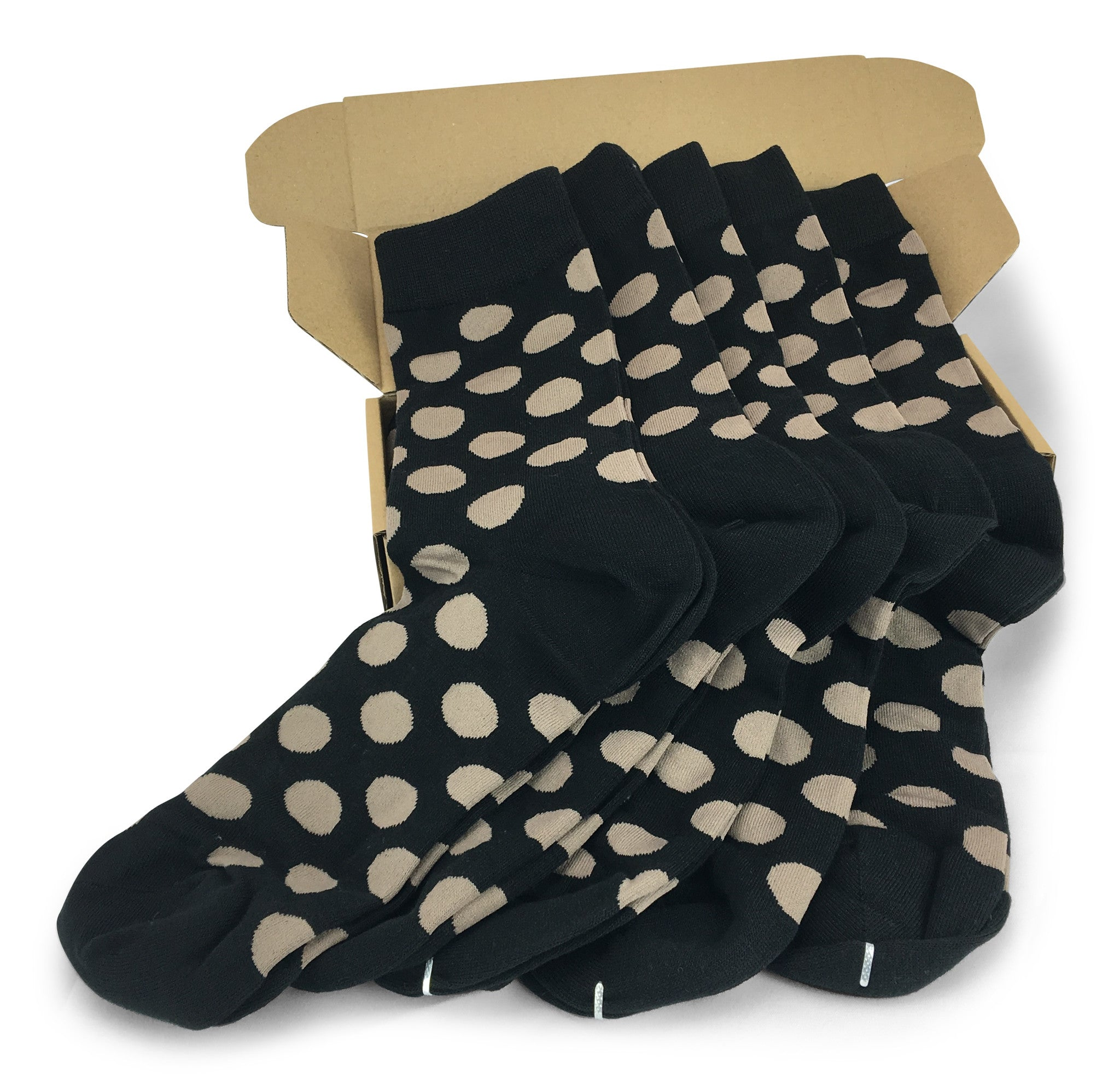 Wedding Party Socks   Black With Taupe Dots