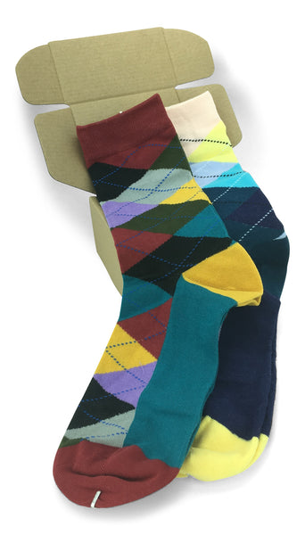 2 Pair Mens Funky Fun Colorful Cotton Socks-Hipster Power Socks-Theme Socks