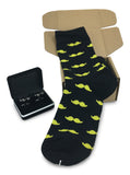 Black Onyx Mustache Cufflink with Matching Men Mustache Socks-Gift Box