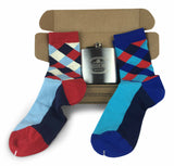Geometric Set colorful Fun Power Socks 2 with 6oz Flask - Gift Box