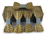 5 Pack Wooden Bow Tie-Creative Handmade Wood Bowtie-Anchor & Blue Plaid