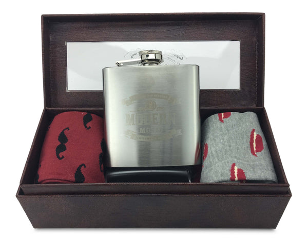 Men Colorful Fashion Design cotton Socks-Stainless steel hip flask with Gift box