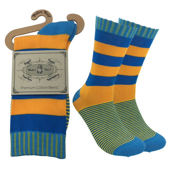 Mens Colorful Cotton Business Fun Casual Fashion Stripe Socks  Collection- Single Pairs
