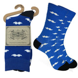 Mens Colorful Cotton Business Fun Casual Fashion Mustache Socks  Collection- Single Pairs