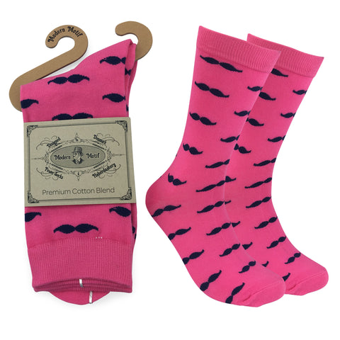 Mens Colorful Novelty Funky Fun Cotton Mustache Socks  Collection- Single Pairs