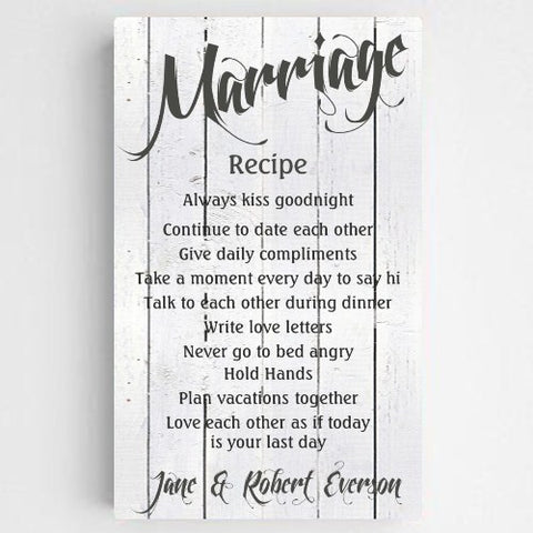 "14""x24"" Personalized Marriage Recipe Canvas Sign"
