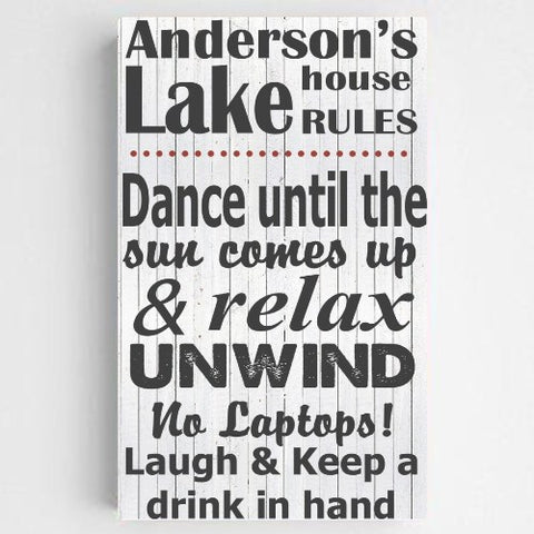 "14""x24"" Personalized Lake House Canvas Sign"