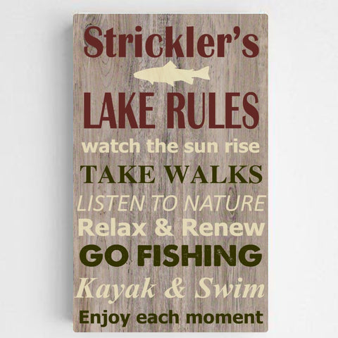 "14""x24"" Personalized Lake Rules Canvas Sign"