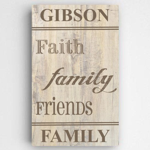 "14""x24"" Family and Faith Canvas Sign"