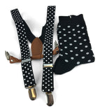 2 Piece Combo Set-Suspenders & Matching Mens Dots Socks Gift Set