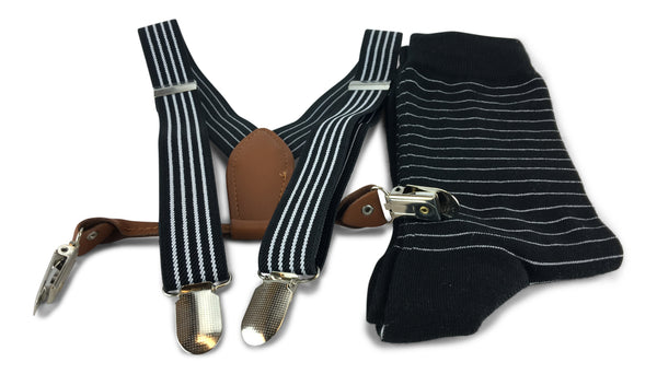 2 Piece Combo Set-Suspenders & Matching Mens Stripes Socks Gift Set