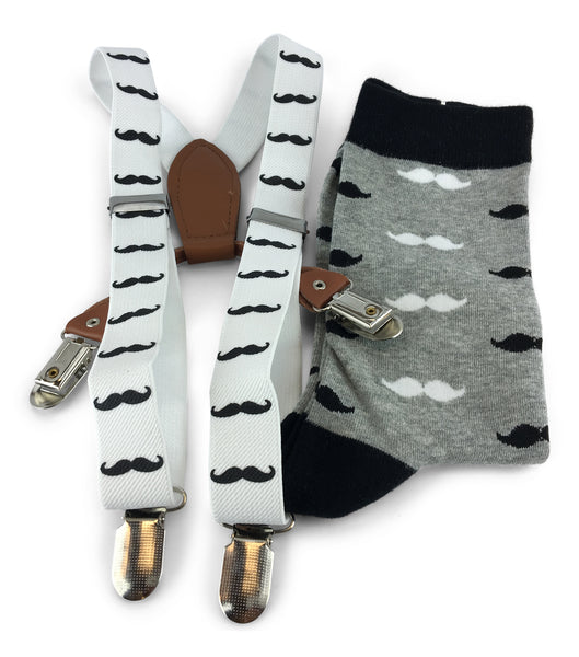 2 Piece Combo Set-Suspenders & Matching Mens mustaches Socks Gift Set