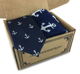 2 Piece Combo Set-Premium cotton Anchors socks with matching skinny tie Combo