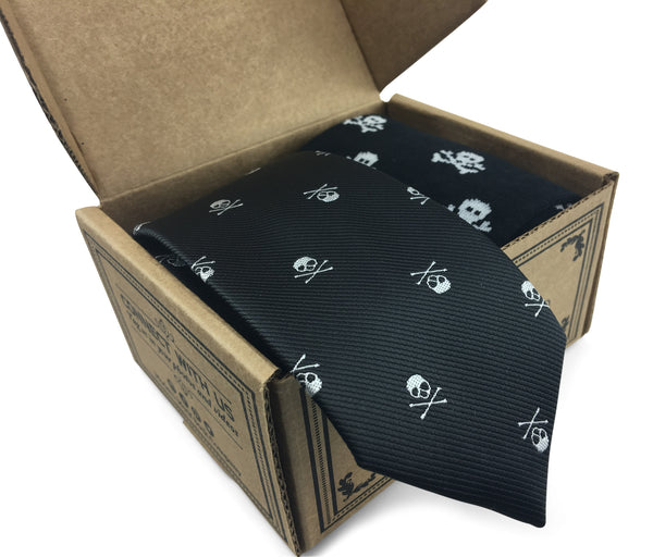 2 Piece Combo Set-Premium cotton skulls socks with matching skinny tie Combo