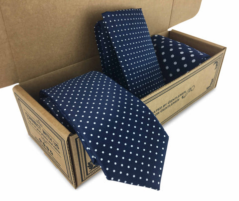 Men Matching 3 Piece Combo Tie, Pocket Square and Socks Navy with tiny white dots in Kraft Gift Box