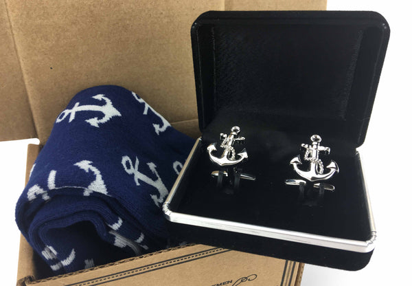 Men Matching Silver Cufflinks 2 Piece Anchor groomsman luxury Socks-Gift Box