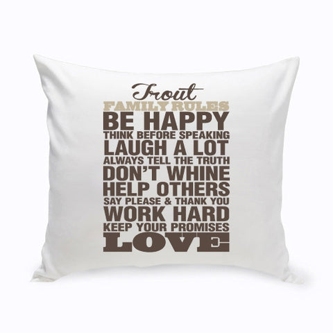 "16"" x 16"" Rustic Family Rules Throw Pillow"