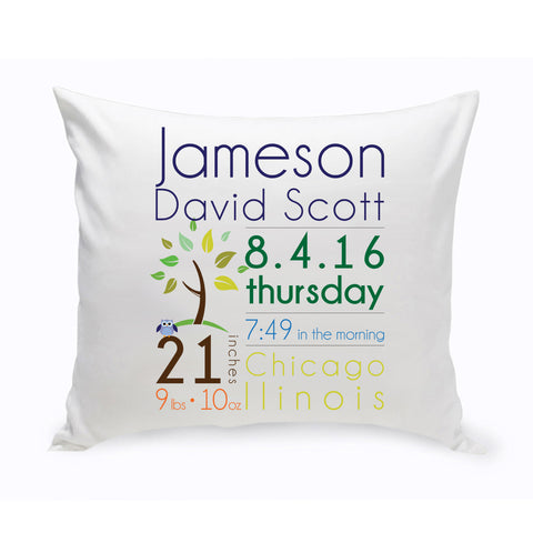 16x16 Baby Annoucement Throw Pillow