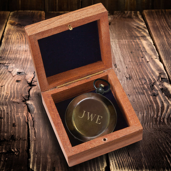 Personalized Antiqued Keepsake Compass with Wooden Box