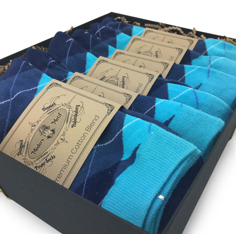 6 Pair Men's Matching Fashionable Dress Socks Gift Box - Groomsmen Weddings Party Socks