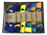 Men Novelty Fashion Dress Socks-6 Pair Fancy Power Sock-Fun Colorful Theme Socks