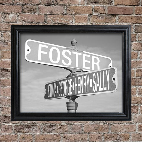 Personalized Black and White Street Sign Frame