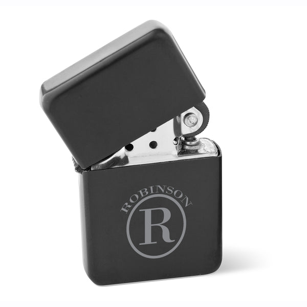 Personalized Wind Proof Matte Black Stainless Lighter