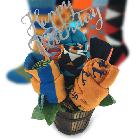 Happy Birthday Sock Bouquet-5 Pairs of Men Gift Socks-Birthday Greeting Message