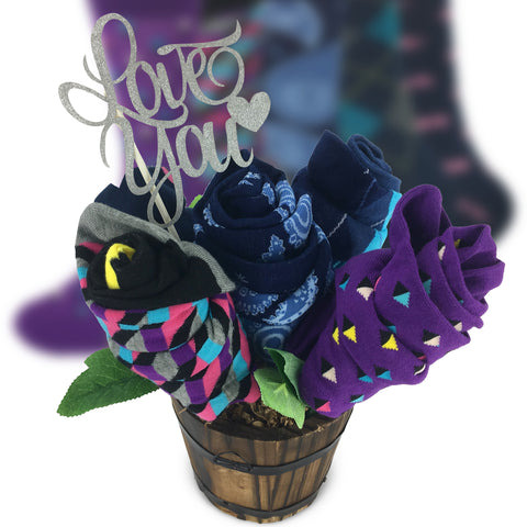 Happy Valentine Sock Bouquet-5 Pairs Anniversary Gift Socks-I Love You Message