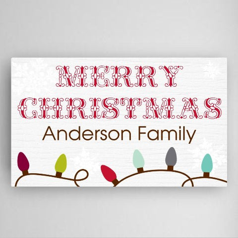 "14""x24"" Christmas Lights Canvas Sign"