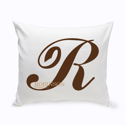 "16"" x 16"" Calligraphy Monogram Throw Pillow"