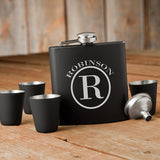 Monogrammed Matte Black Flask and Shot Glass Gift Set