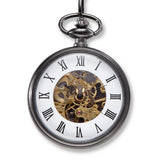 Exposed Gears Gunmetal Pocket Watch