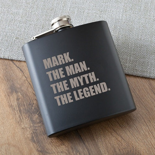 Man Myth Legend Matte Black Flask
