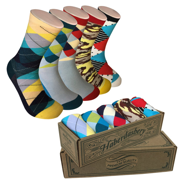 5 Pair Mens Funky Fun Colorful Socks-Hipster Power Socks-Premium Cotton Socks