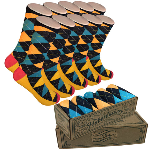 Wedding Party Socks Teal/Yellow Argyle