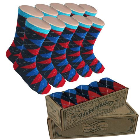 Wedding Party Socks - Blue/Red Argyle
